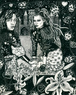 Unchivalrous Behaviour Black and White Drawing Sheelagh Peace